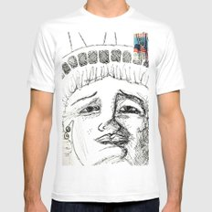 Liberty MEDIUM White Mens Fitted Tee