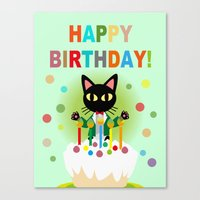happy birthday Canvas Prints featuring Happy Birthday! by BATKEI