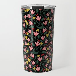 Pink Floral Pattern on Black Travel Mug