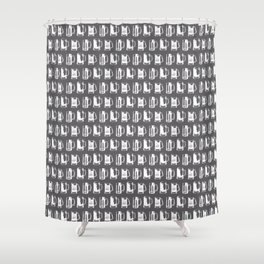 Beer Mugs on Charcoal Shower Curtain