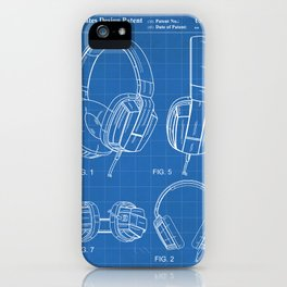 Headphones Patent - Head Phones Art - Blueprint iPhone Case