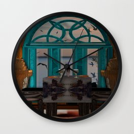 Dinner for two Lake side view Wall Clock