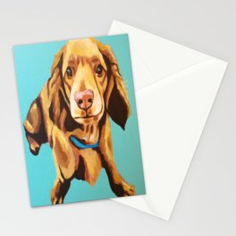 Miniature Long Haired Dachshund Painting on Blue Turquoise  Stationery Cards