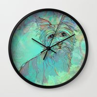 yorkie Wall Clocks featuring Dog Illustration ; Yorkie by bialy kot art