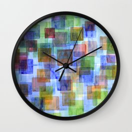 Squares in all the Colors of the Rainbow Wall Clock