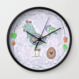 Cool Blue Rooster Wall Clock