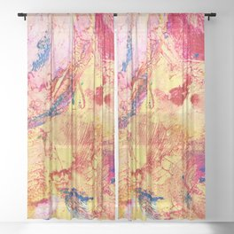 Goldfinch Abstract Painting Sheer Curtain