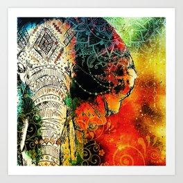 Mandala Indian Elephant Asian Spiritual Zen Bohemian Hippie Yoga Mantra Meditation Kunstdrucke