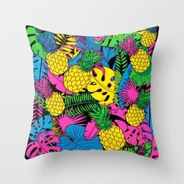 90's Tropical Splash Throw Pillow