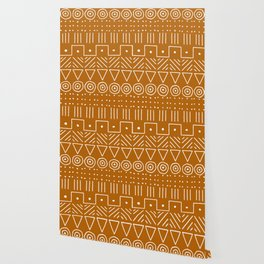 Mudcloth Style 1 in Orange Wallpaper