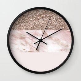 Portofino marble rose gold luxe Wall Clock