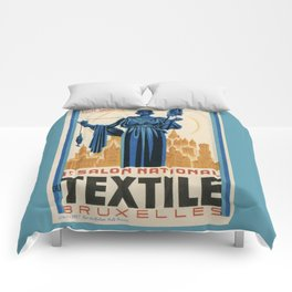 1938 Art deco Textile Expo Brussels Comforters
