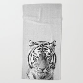 Tiger - Black & White Beach Towel