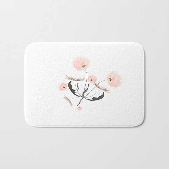 Sweet dandelions in pink - Floral Watercolor illustration with Glitter Bath Mat