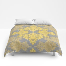 Golden Folk - doodle pattern in yellow & grey Comforters