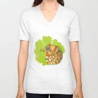 chameleon V-neck T-shirts featuring Chameleon by Nina Ezhik