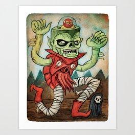 Calamari Zombie Rides Again Art Print