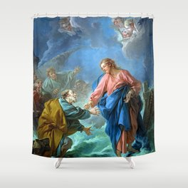 Saint Peter Invited to Walk on the Water - Francois Boucher Shower Curtain