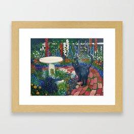 Black Cat On The Brick Road Framed Art Print