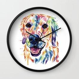 Golden Retriever Watercolor Pet Portrait Painting by Whitehouse Art Wall Clock