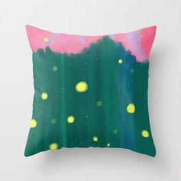 Tall Grass Pink Sky - Fireflies 1 Throw Pillow