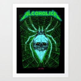 ALCOHOLICA SPIDER SKULL WEB 80's thrasher Art Print