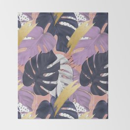 monstera mood Throw Blanket