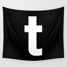 letter T (White & Black) Wall Tapestry