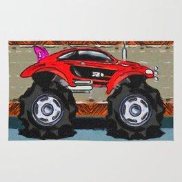 Sports Car Monster Truck Rug