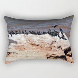 Double Crested Cormorant landing Rectangular Pillow