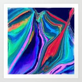 northern lights (aurora borealis) abstract oil painting Art Print