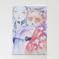 kitsune Stationery Cards featuring kitsune kitsune by Eszter Nagy