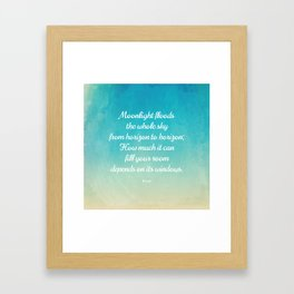 Moonlight Floods the Whole Sky - Beautiful Quote by Rumi Framed Art Print