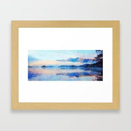 Mist Rolling off the Mountains Reflected in Derwentwater, Cumbria, England. Watercolour Painting. Framed Art Print