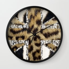 Wild | Hipster leopard Print Zebra UK Union Jack Flag  Wall Clock