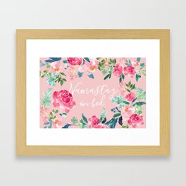 Rose Quartz and Peonies Namastay in bed Framed Art Print