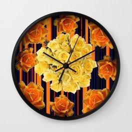 GOLDEN & YELLOW ROSES DARK STRIPES ART Wall Clock