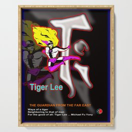 TIGER LEE ...black poster Serving Tray