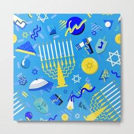 80's Postmodern Hanukkah Celebration Metal Print