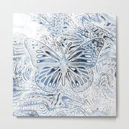 Monarch Butterfly in Pastel Blue Metal Print