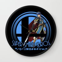 smash bros Wall Clocks featuring Marth - Super Smash Bros. by Donkey Inferno