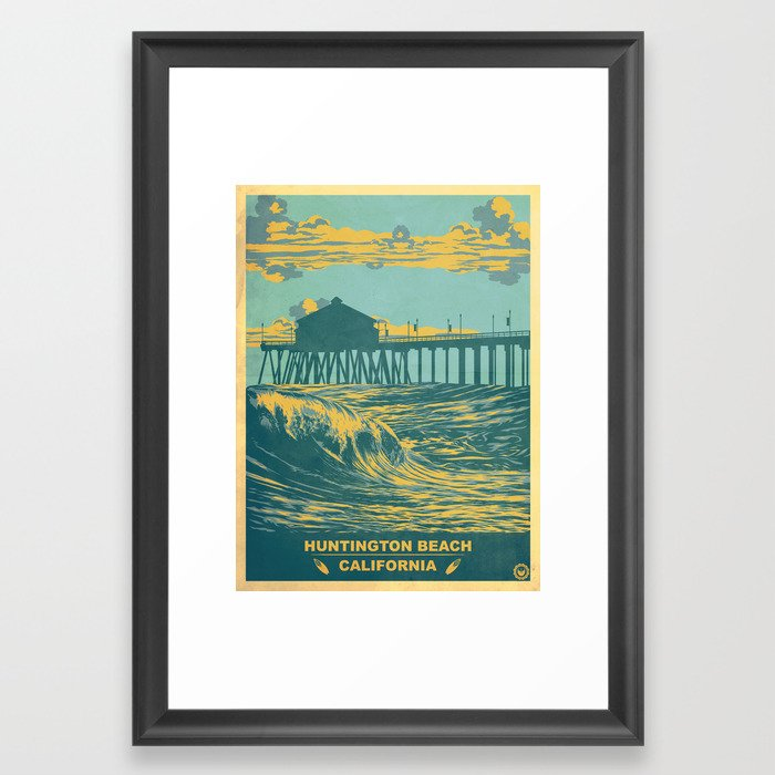Vintage Huntington Beach Poster Framed Art Print by j0nhernandez ...