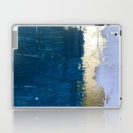 Rain [1]: a minimal, abstract mixed-media piece in blues, white, and gold by Alyssa Hamilton Art Laptop & iPad Skin