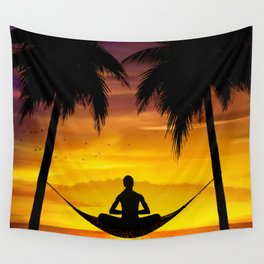 Yoga at sunset Wall Tapestry