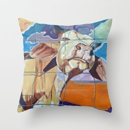 The Girl Next Door Cow Portrait Throw Pillow