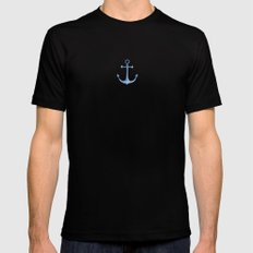 Nautical pattern Gift for boy Blue anchor Room decor Watercolor marine Sea abstract Modern water MEDIUM Mens Fitted Tee Black