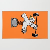 fitness Area & Throw Rugs featuring Chicken lifting weights by mailboxdisco