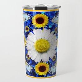 EVERYTHING'S COMING UP DAISIES & BUTTERFLIES  BLUE  ART Travel Mug