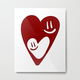 TWO MESMERIZED LOVING HEART FACES - Valentines Day Metal Print