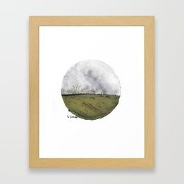 Cicular minimalist watercolour and ink landscape- grey and green Framed Art Print